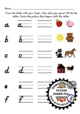 Kinder Alphabet Handwriting & Beginning Sound pre/post Assessment