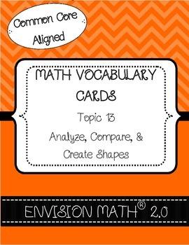 Kinder Common Core Math Vocab Cards Topic 13 - Analyze, Co
