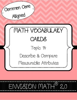 Kinder CommonCore Math Vocab Cards Topic 14-Describe&Compa