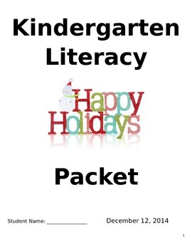 Kinder Literacy Homework with Parents Packet (Holiday)