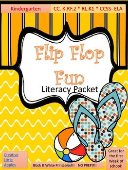 FUN! SUMMER/Early BACK-TO-SCHOOL.Literacy Packet. PRINT&GO