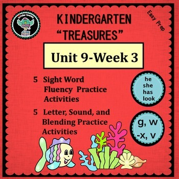 Kinder Treasures Unit 9  Week 3  Sight Words she he has lo