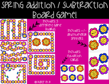 Kinder addition and subtraction board game!