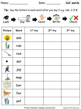 Kindergarten Spelling Worksheets (79 worksheets) with 350+