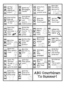 Kindergarten ABC Countdown to Summer