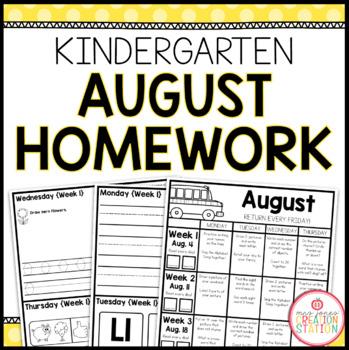 Homework Packet: Kindergarten   August