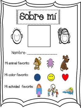 Kindergarten About Me- Spanish