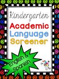 {$2.00 OFF!!!} Kindergarten Academic Language Screener - E