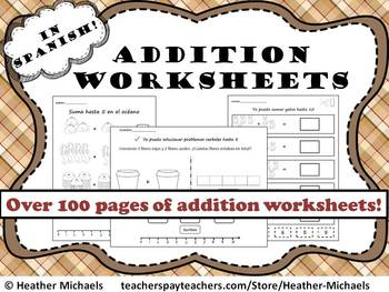 Kindergarten Addition Worksheets in Spanish / Hojas de sum