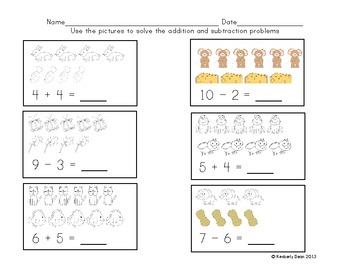 Kindergarten Addition and Subtraction Problems