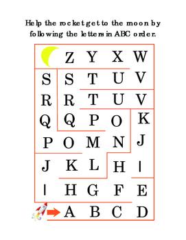 Kindergarten Alphabet Maze Follow Letters ABC order Rocket