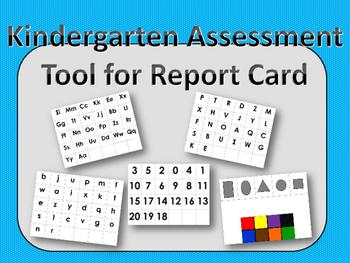 Kindergarten Assessment Tool Report Card FULL PAGE