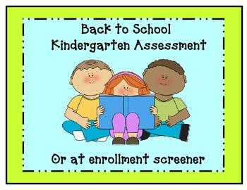Kindergarten- Back to School Assessment/ Screener