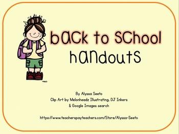 Kindergarten Back to School Handouts