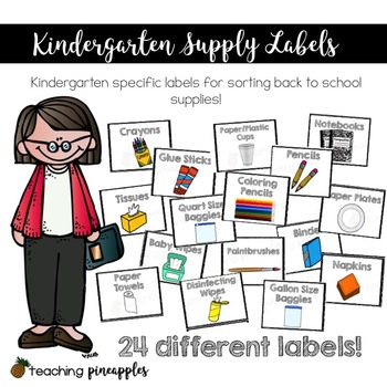 Kindergarten Back to School Supply Labels