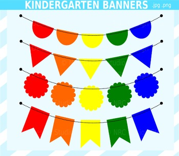 Kindergarten Banner Flags Clip Art for Personal and Commer