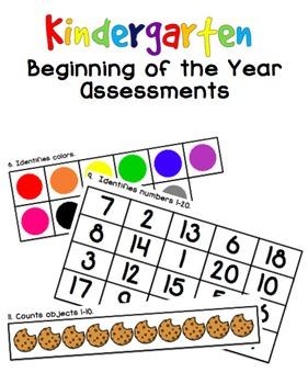 Kindergarten Beginning of the Year Assessments