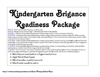Kindergarten Brigance Packet Alpbabet Match Numbers Colors