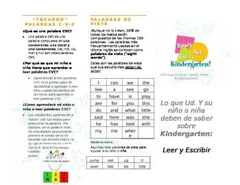 Kindergarten Brochure What Your Child Needs to Know ELA Sp