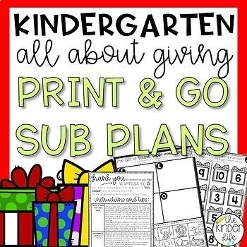 "Kindergarten C.C. Aligned Dec ""Giving"" Print & Go Sub Plan"