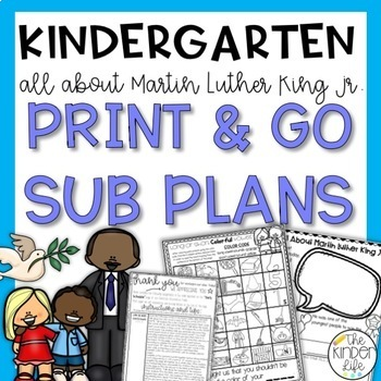 "Kindergarten C.C. Aligned January ""MLK Jr"" Print&Go Sub Pl"