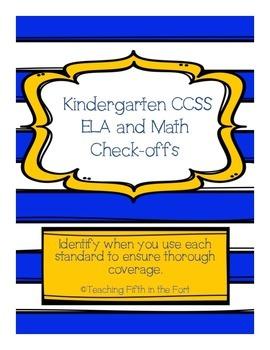 """Kindergarten CCSS ELA and Math Standards """"Check Offs""""/Paci"""