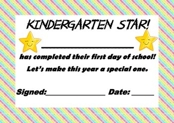 Kindergarten Certificate for 1st day of School