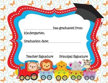 Kindergarten Certificate for Graduation- Train Theme