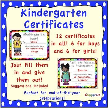 Kindergarten Certificates - FREE