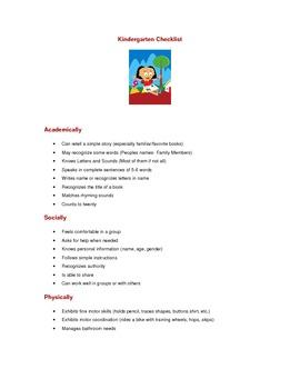Kindergarten Checklist