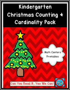 Kindergarten Christmas Counting and Cardinality Pack