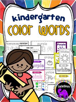 Kindergarten Color Words: Worksheets, Center Activities, C