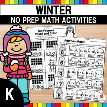 Kindergarten Winter Math Worksheets (Common Core Aligned)