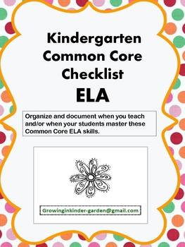 Kindergarten Common Core Checklist-ELA