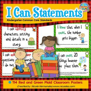 I Can Statements KINDERGARTEN Common Core Standards Plaid
