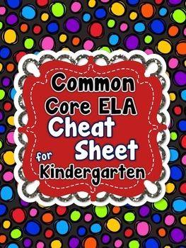 Kindergarten Common Core ELA Standards CHEAT SHEET (ALL st