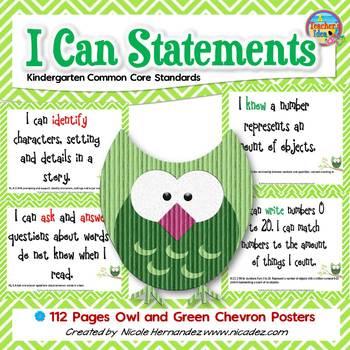 I Can Statements KINDERGARTEN Common Core Standards Owl (1