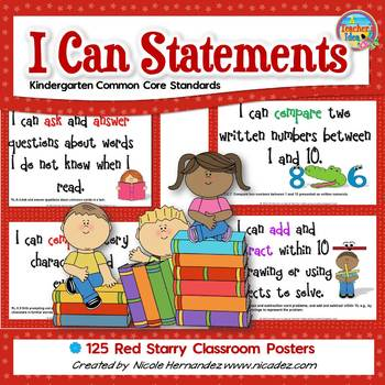 I Can Statements KINDERGARTEN Common Core Standards Red (1