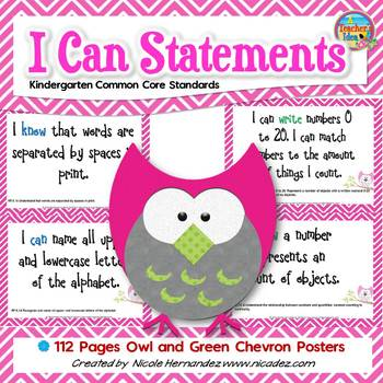 I Can Statements KINDERGARTEN Common Core Standards Owl Ch