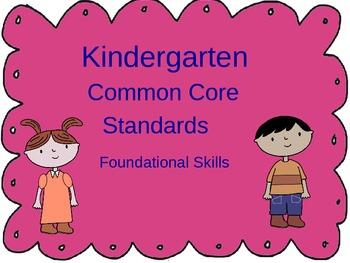 Common Core Kindergarten - Foundational Skills,Writing and