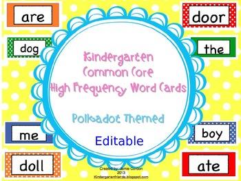 Kindergarten Common Core High Frequency Word Wall Words -