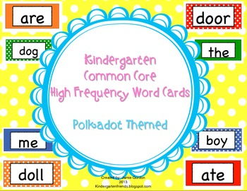 Kindergarten Common Core High Frequency Word Wall Words an