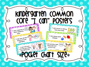 "Kindergarten Common Core ""I Can"" Posters Polka Dots (Pocke"