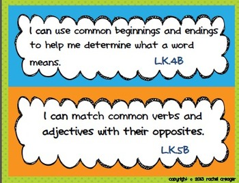 Kindergarten Common Core I Can Statements and Standards Checklist