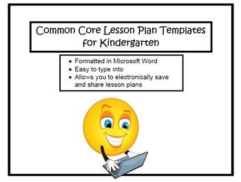 Kindergarten Common Core Lesson Planning Templates in Micr