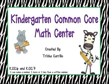 Kindergarten Common Core Math Center (Name a number 1 more
