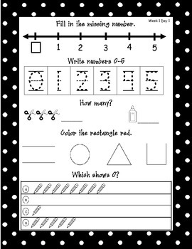 Kindergarten Common Core Math Journals Weeks 1-4 (September)