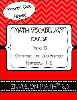 Kindergarten Common Core Math Vocab Cards Topic 10 - Compo