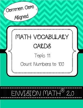 Kindergarten Common Core Math Vocab Cards Topic 11 - Count