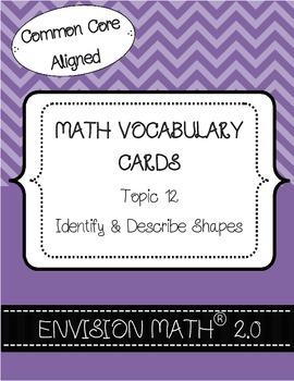 Kindergarten Common Core Math Vocab Cards Topic 12 - Ident